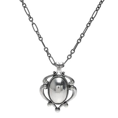 GEORG JENSEN 經典2019 Heritage系列銀球鑲嵌925氧化純銀項鍊