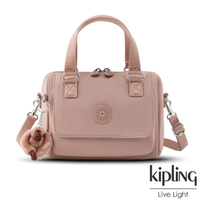 Kipling 氣質玫瑰粉翻蓋手提側背包-ZEVA