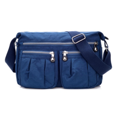 I.Dear-歐美男女媽媽休閒牛津布尼龍拉鍊斜背包側背包(BG75藍色)