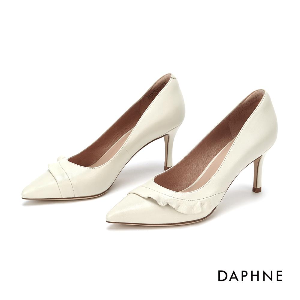 達芙妮DAPHNE 高跟鞋-優雅荷葉滾邊真皮高跟鞋-米白