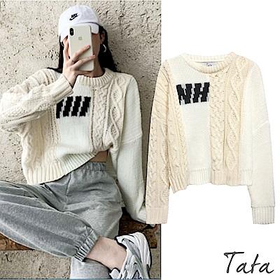 雙色拼接短版粗針織上衣 TATA-F