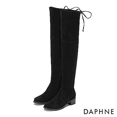 達芙妮DAPHNE 膝上靴-質感絨面過膝蝴蝶綁帶低跟靴-黑