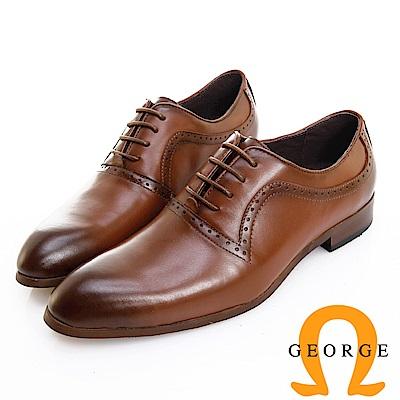 GEORGE 喬治皮鞋 歐風型男 都會時尚漸層刷色牛津鞋 -棕