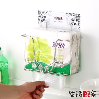 生活采家樂貼系列台灣製304不鏽鋼廚房方形紙巾架