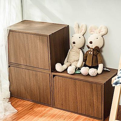 樂嫚妮 DIY 日式 收納櫃/門櫃/書櫃/附門-淺胡桃木色3入組-42X28.2X28.8cm