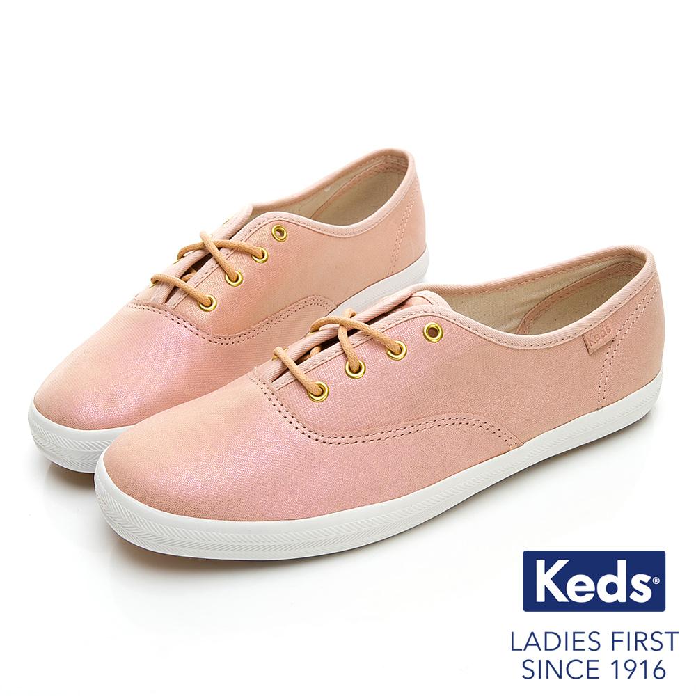 Keds CHAMPION 珠光皮革綁帶休閒鞋-粉紅