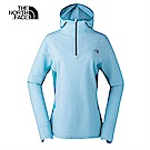 The North Face北面女款藍綠色吸濕排汗連帽長袖上衣|3LLA7QG