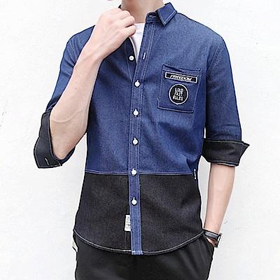 BuyGlasses 徽章牛仔感七分袖襯衫