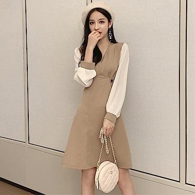 DABI 韓國赫本風氣質收腰顯瘦拼接長袖洋裝