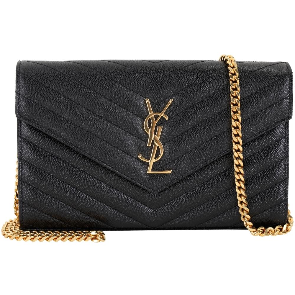 YSL Saint Laurent Monogram 大型 金字絎縫牛皮鍊帶信封包(黑色)