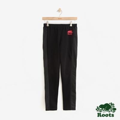 女裝ROOTS - 尼龍拼接刷毛休閒棉褲-黑色