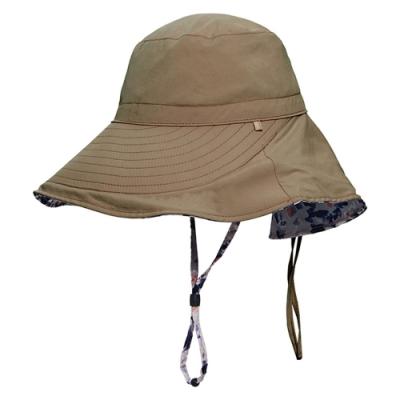 荒野【wildland】女抗UV印花雙面優雅遮陽帽黃卡其
