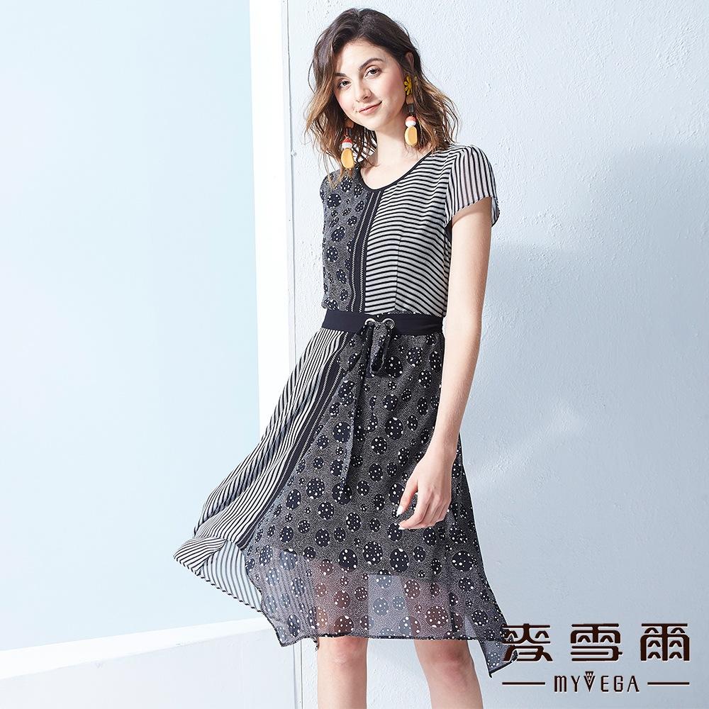 【麥雪爾】黑白幾何拼接雪紡洋裝