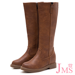 JMS-完美比例簡約素面側V口內增高拉鍊長靴-棕色