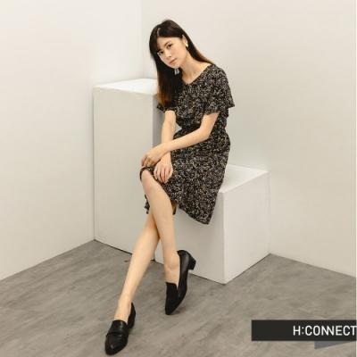 H:CONNECT 韓國品牌 女裝 - 甜美滿版碎花短洋裝-黑色