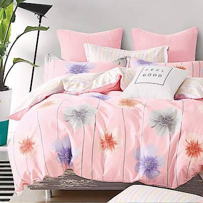 La Lune 台灣製100%40支精梳純棉雙人加大床包枕套三件組 尋花蔓蔓