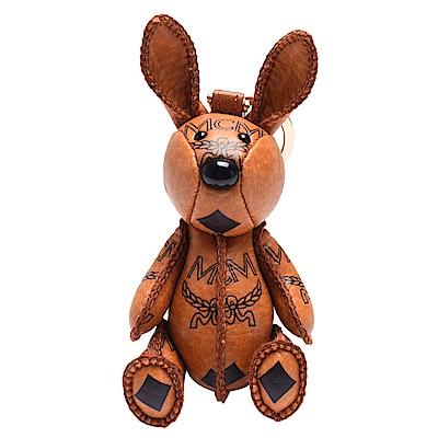 MCM 經典VISETOS兔子造型塗層帆布鑰匙圈/吊飾(橘)