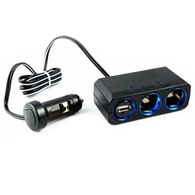 YAC 12V延長型兩孔點菸插座_附USB插座(PZ-610)