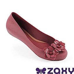 Zaxy 巴西 女 花舞名伶 平底鞋-棗紅色