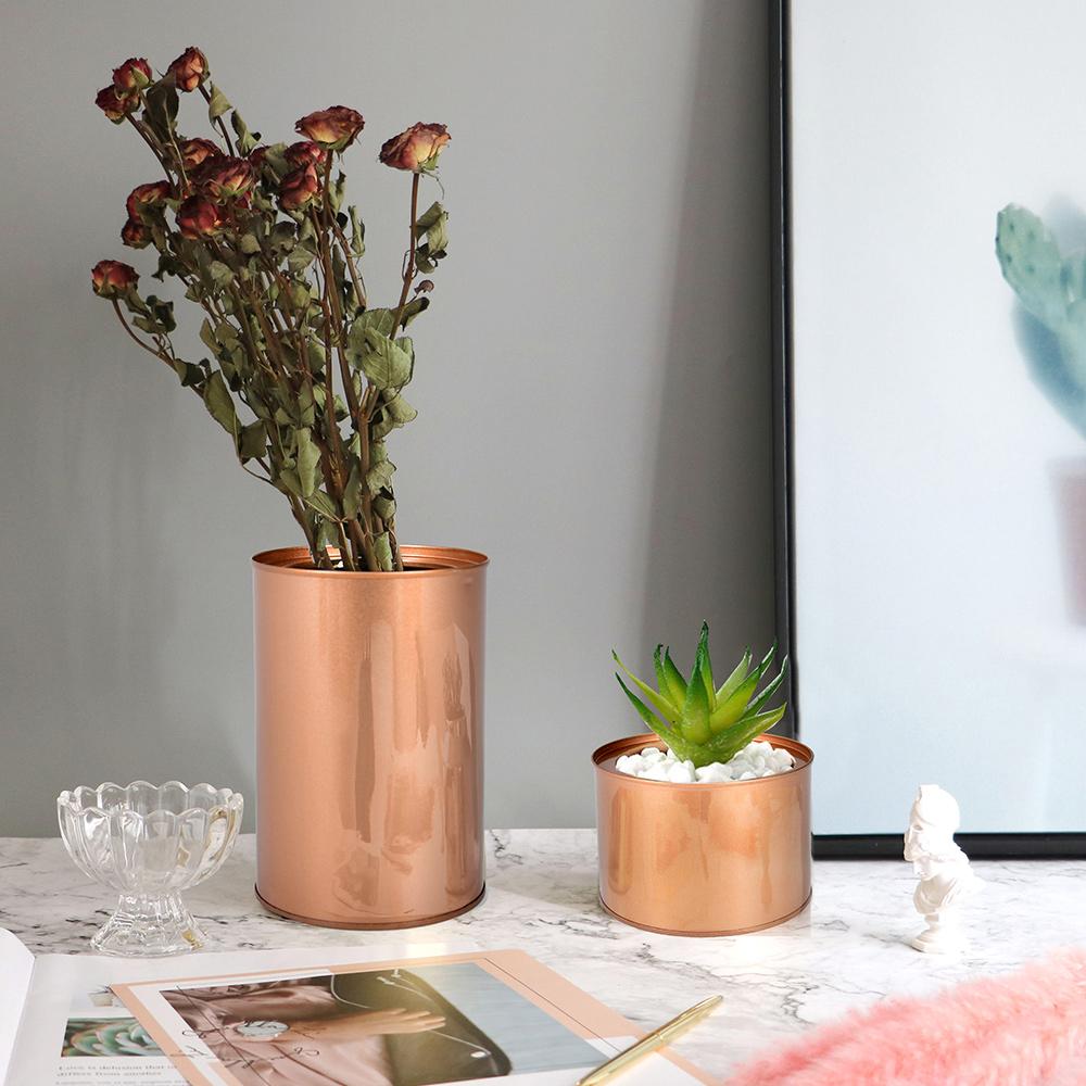 Meric Garden 創意北歐ins風鐵罐/盆栽收納罐_有蓋玫瑰金3入組(大+中+小)
