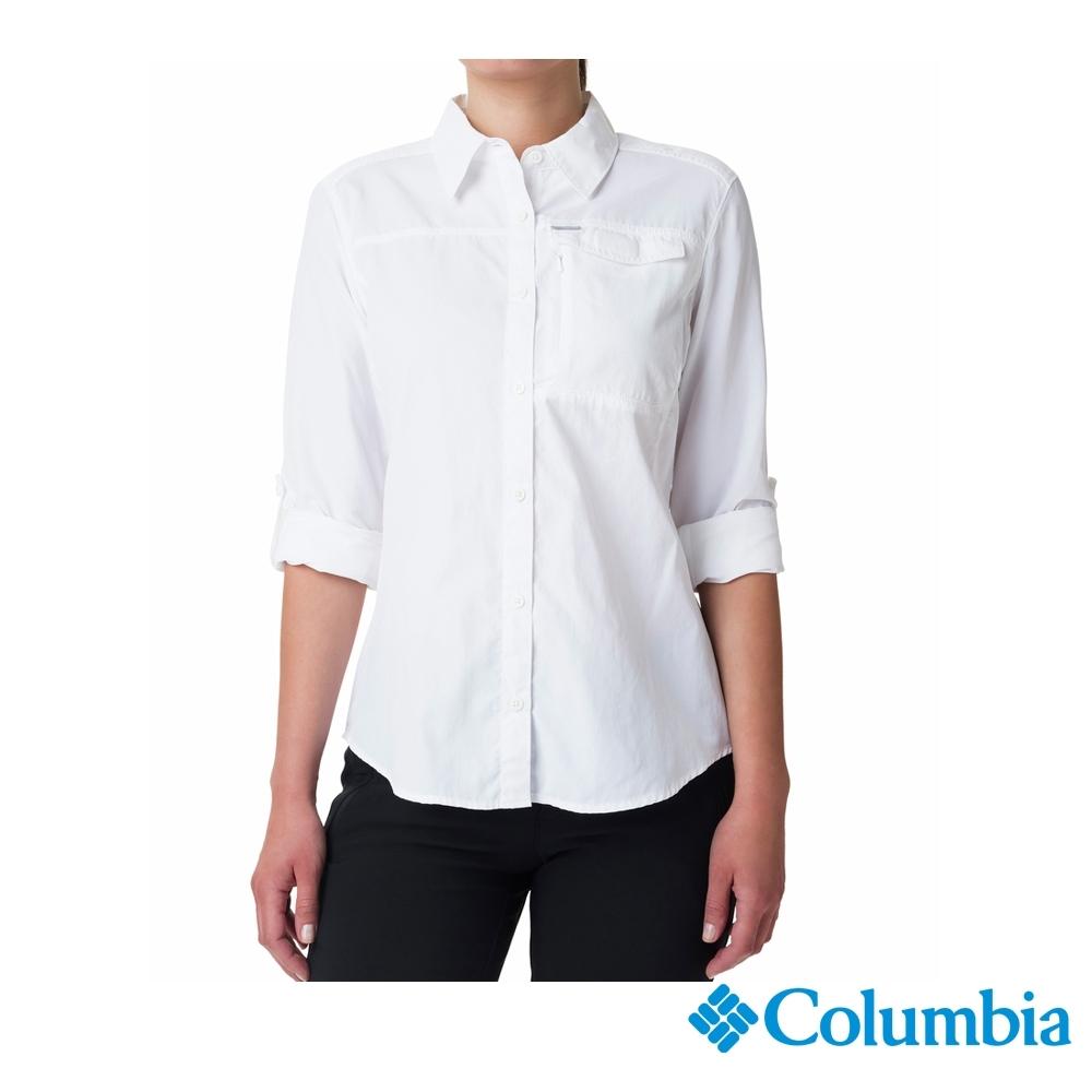 Columbia 哥倫比亞 女款- UPF50 快排長袖襯衫-白色 UAK26570WT