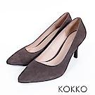 KOKKO - 經典素面鞋切尖頭麂皮高跟鞋- 綠