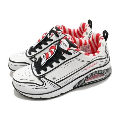 Skechers 休閒鞋 Uno-Tip Of His Hat 女鞋 支撐 緩衝 氣墊 耐用 蘇斯博士聯名款 白 黑 155321WBK