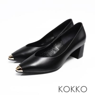 KOKKO -流浪到巴黎點金小方頭真皮粗跟鞋-永恆黑