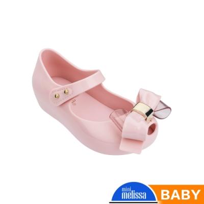 Melissa 金屬蝴蝶結魚口娃娃鞋(寶寶款)-粉