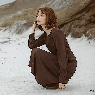 純色不易皺簡約腰扭結長袖傘襬洋裝-OB嚴選