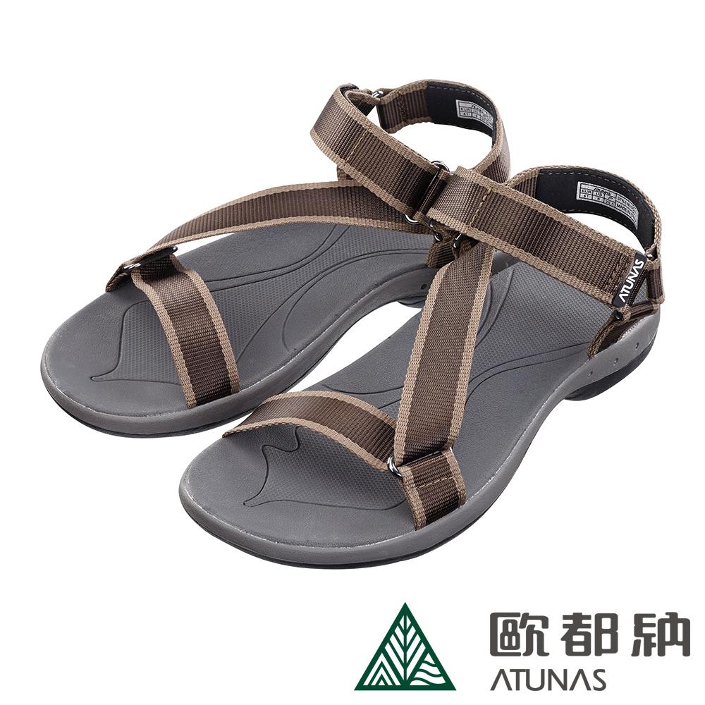 【ATUNAS 歐都納】男款抑菌減震耐磨輕量織帶涼鞋GC-1815棕綠