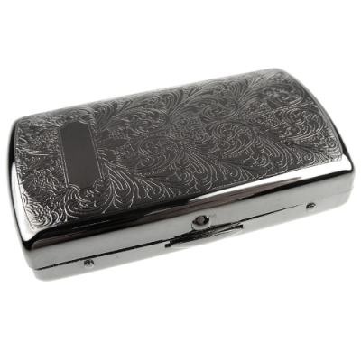 Pearl 珍珠-日本進口~高質感MINI捲煙煙盒(阿拉伯式花紋黑鎳款)