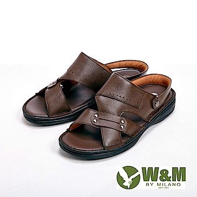 W&M寬帶防滑軟墊兩用涼拖鞋 男鞋-深咖(另有棕)