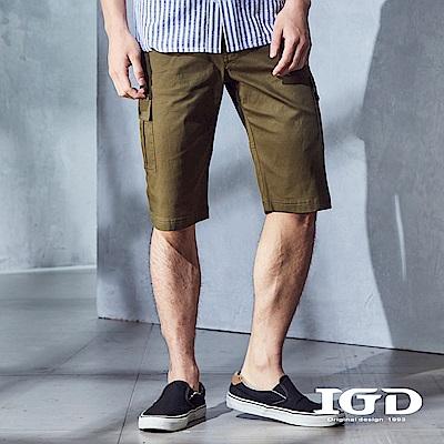 IGD英格麗 都會百搭立體口袋休閒造型工作短褲-軍綠