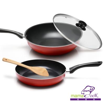 義大利Mama cook亮麗紅黑陶瓷不沾雙鍋4件組(32cm炒鍋+26cm平底鍋)