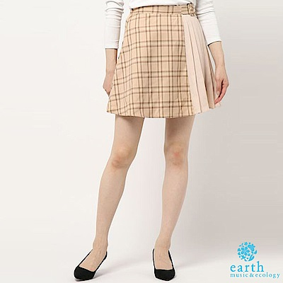 earth music 摺邊X格紋拼接設計迷你短裙