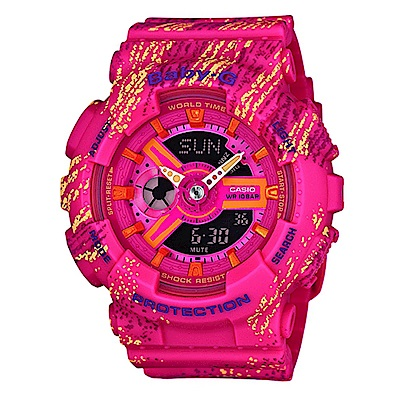 BABY-G霧狀蠟筆紋路設計運動時尚童趣概念休閒錶(BA-110TX-4A)-紅/43.3