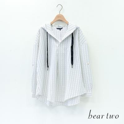 bear two- 連帽條紋上衣 - 白