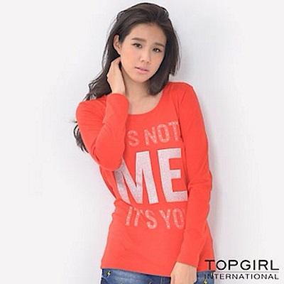 【TOP GIRL】字母造型圓領T - 紅色