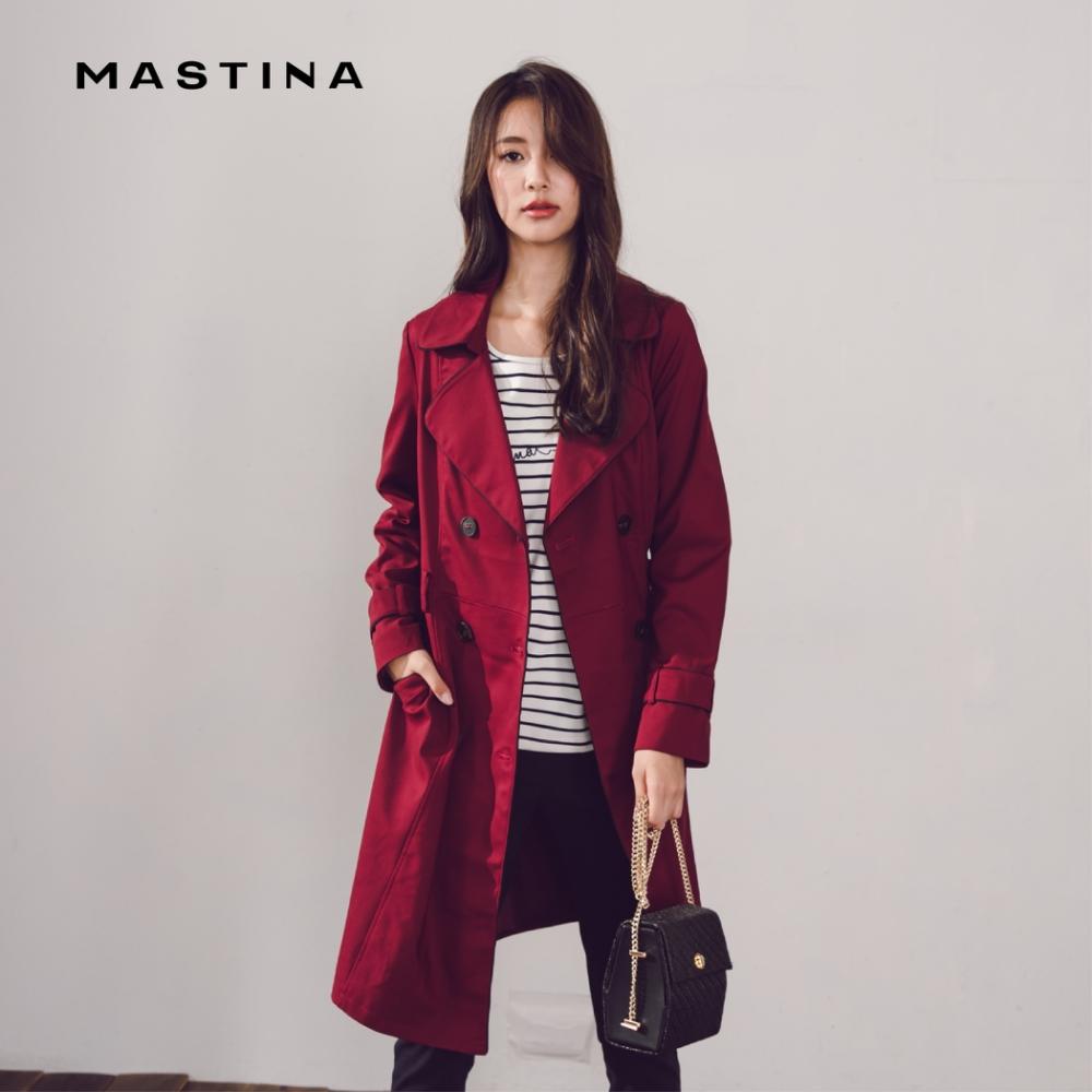 【MASTINA】優雅長版風衣-外套(三色)