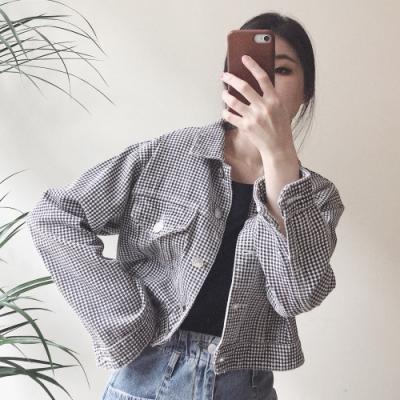TMH-可愛小格子短版牛仔外套