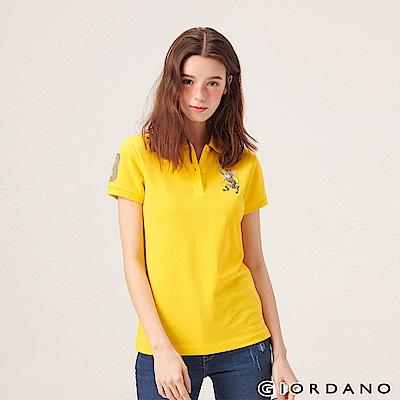 GIORDANO 女裝勝利獅王漸層刺繡彈力萊卡POLO衫-11 鮮黃