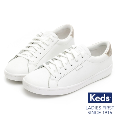 Keds ACE 復古運動皮質綁帶休閒鞋-白/金