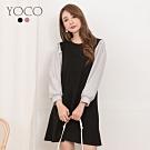 東京著衣-YOCO 青春氣息直條紋泡泡袖拼接設計洋裝-S.M.L(共二色)