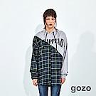 gozo 街頭格紋斜拼接造型連帽上衣(二色)