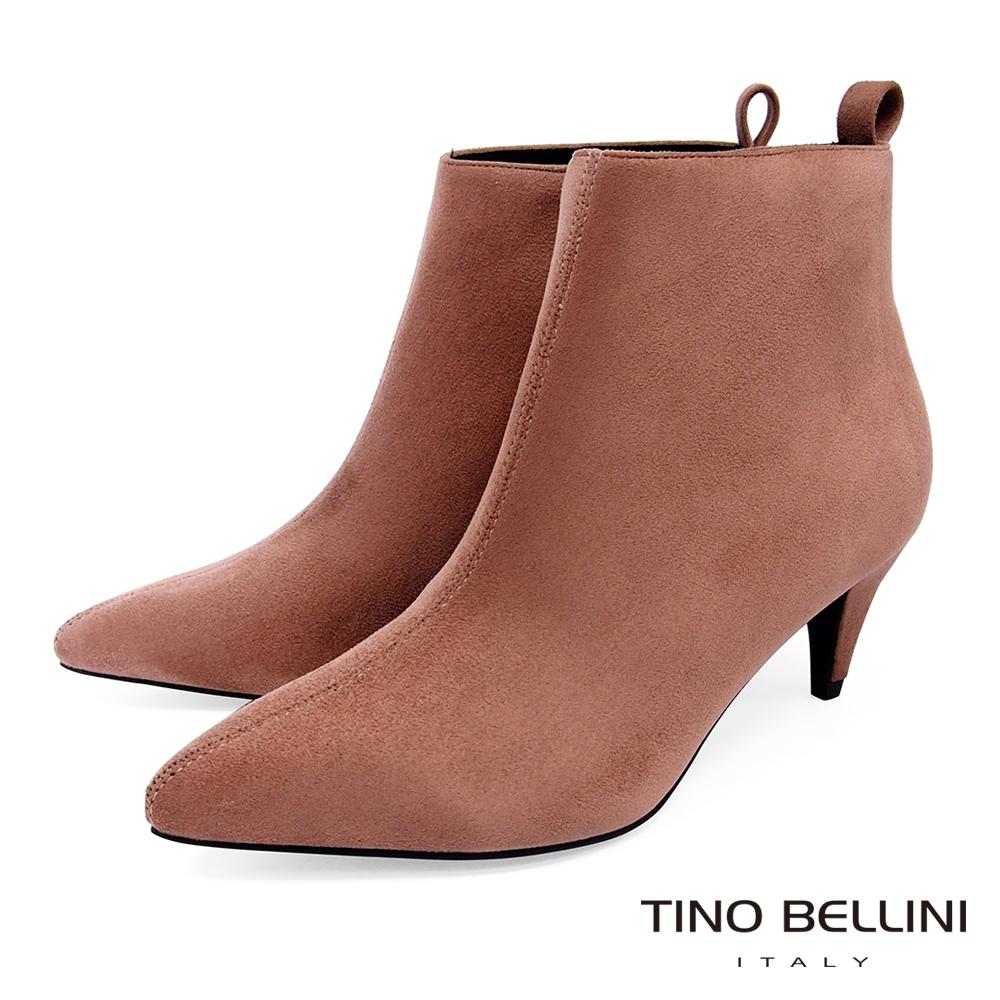 Tino Bellini 純色極簡絨布中跟尖楦短靴 _ 粉