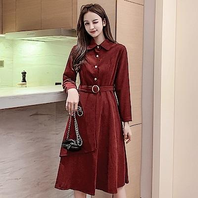 DABI 韓系桔梗復古氣質顯瘦加厚絨面配腰帶長袖洋裝