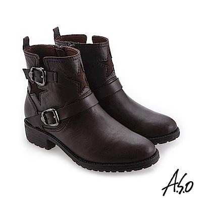 A.S.O 異材質拼接 星星圖示簡約低跟靴 咖啡