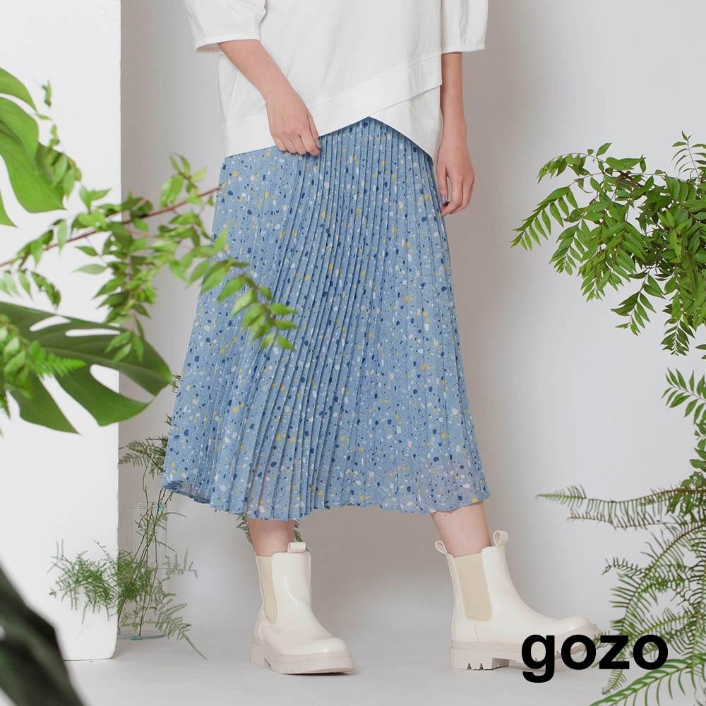 gozo-雪紡碎花百褶裙(兩色) product image 1