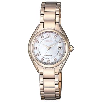 CITIZEN LADY'S光動能晶光閃耀秋季時尚腕錶-玫瑰金(EW2543-85D)